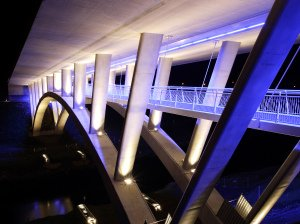 Bridge at Night, lit up, professional photograph.