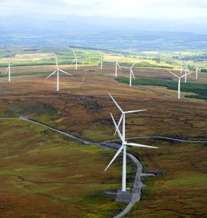Aerial photograph of Donegal Windfarm.