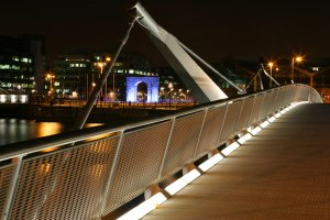 Nightime Bridge photography, dramatic, River Liffey Dublin.