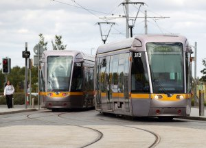 Luas trams in West Dublin.