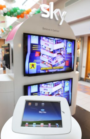 Closeup Photo of Sky Digital In-Store Stand.
