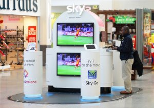 SKY Digital In-Store Stand in Shopping Centre.